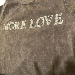 New pearly rhinestone t shirt more love size 0X